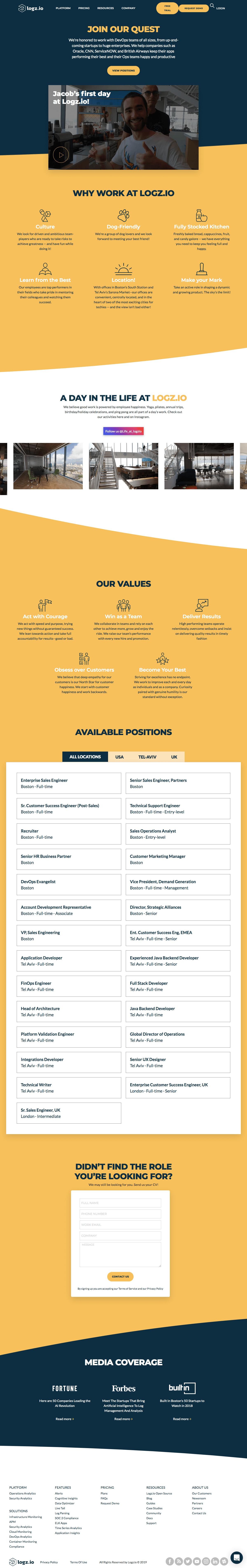 Logz.io - Career page