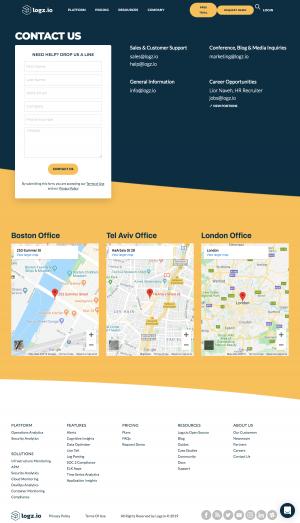 Logz.io - Contact page