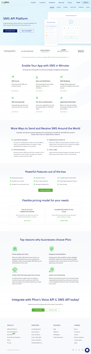 Plivo - Features page 1