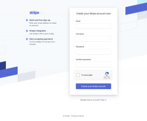 Stripe - Sign up page