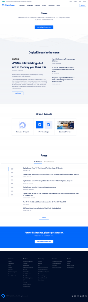 DigitalOcean - Media kit page