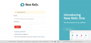 New Relic - Login page