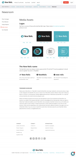 New Relic - Media kit page