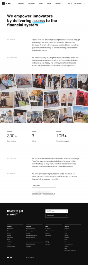 Plaid – About Us page