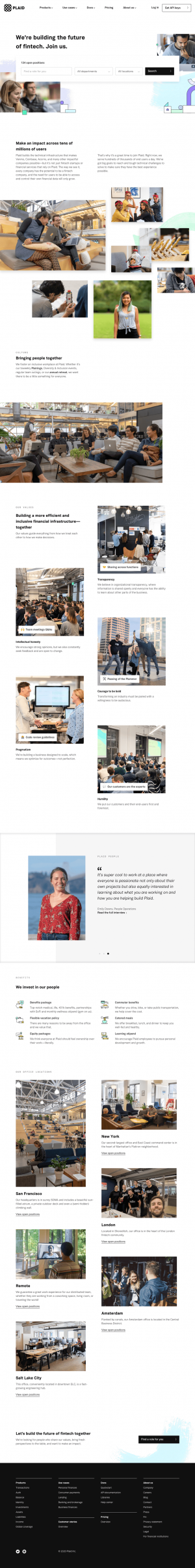 Plaid – Career page