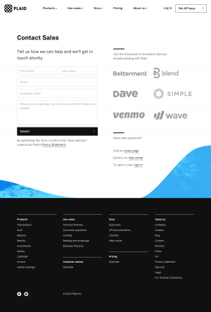 Plaid – Contact page