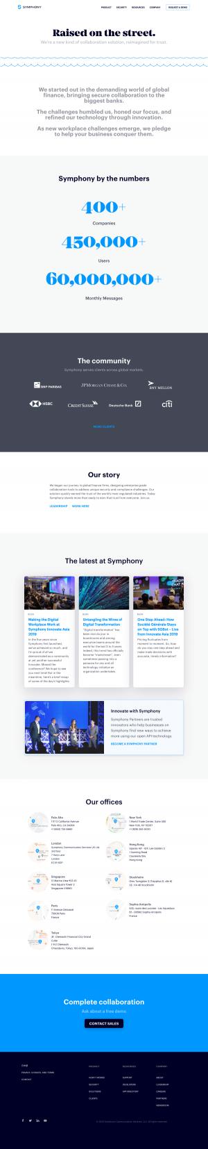 Symphony – About Us page