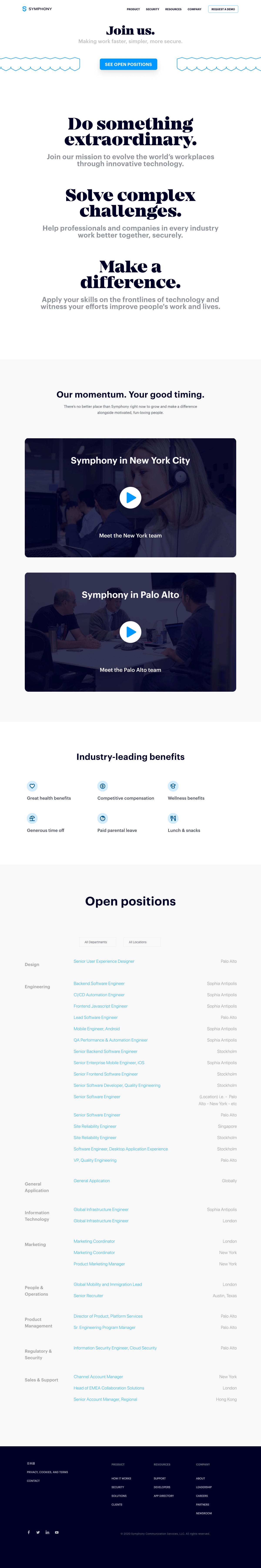 Symphony – Career page