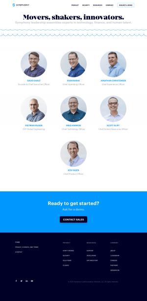 Symphony – Team page