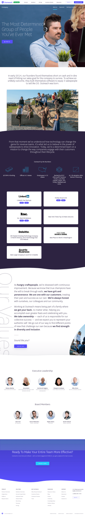 Outreach – About Us page