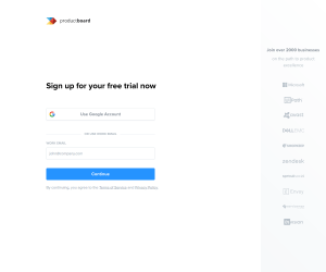 productboard – Sign up page