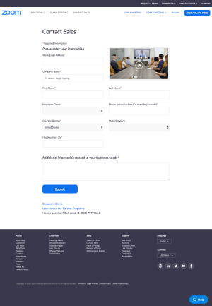 Zoom – Contact page