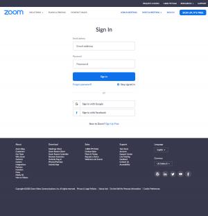 Zoom – Login page