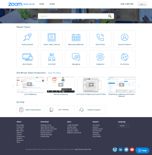 Zoom – Support page