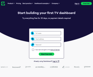Geckoboard – Sign up page
