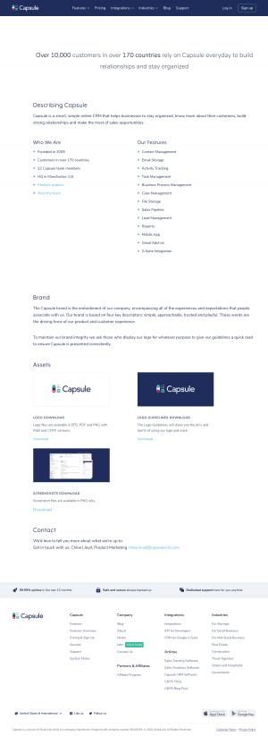 Capsule – Media kit page