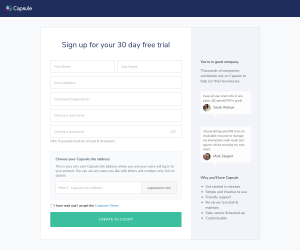 Capsule – Sign up page