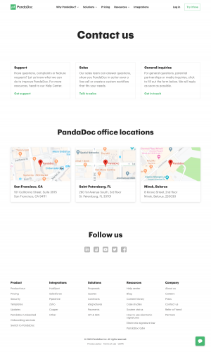 PandaDoc – Contact page