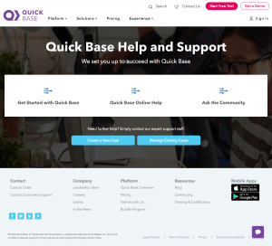 Quick Base – Support page