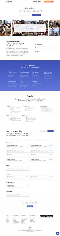 Streak – Career page