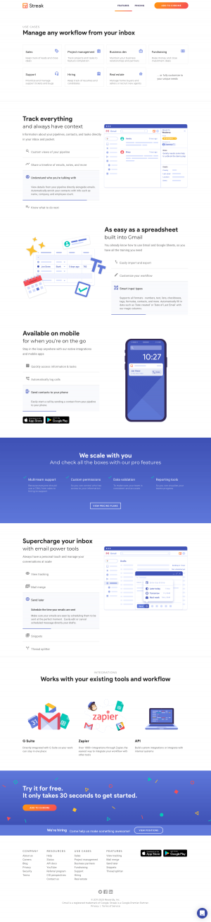 Streak – Features page