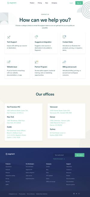 Segment – Contact page