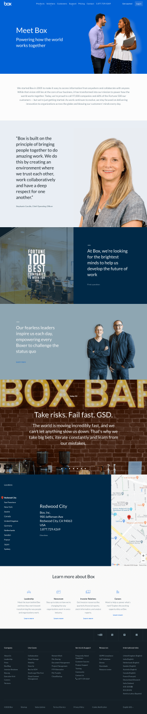 Box – About Us page