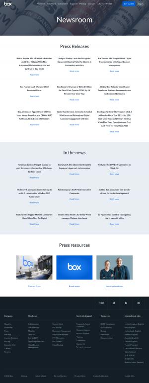 Box – Media kit page