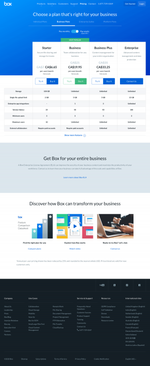 Box – Pricing page