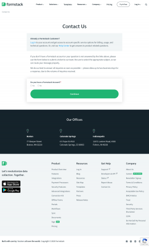 Formstack – Contact page
