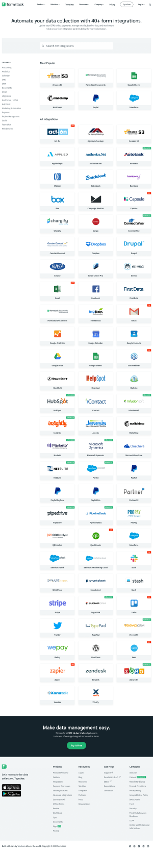 Formstack – Integrations page 1
