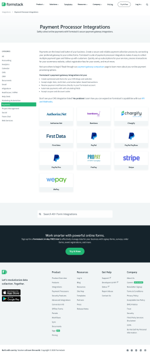 Formstack – Integrations page 3