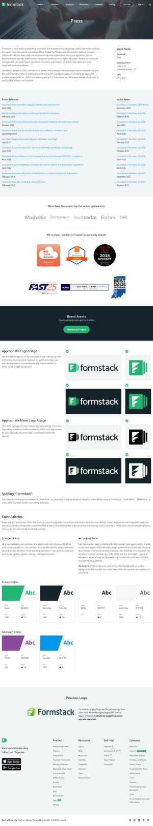 Formstack – Media kit page