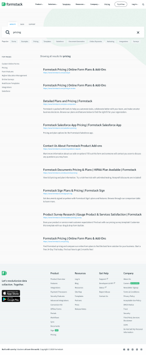 Formstack - Search results page