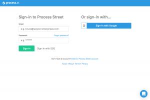 Process Street – Login page