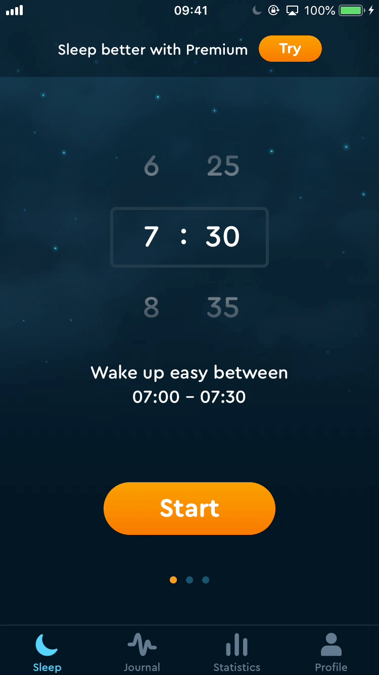 Browsing profile and settings - App - Sleep Cycle