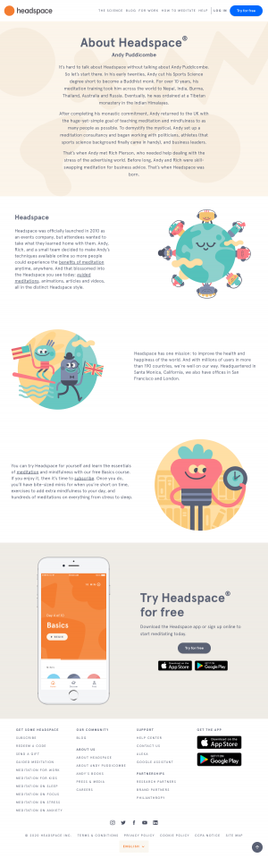 Headspace – About Us page