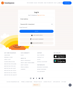 Headspace – Login page
