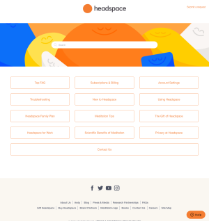 Headspace – Support page