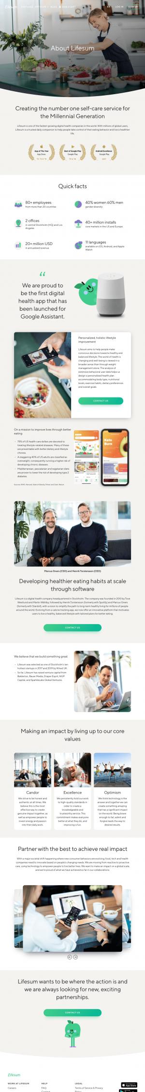 Lifesum – About Us page