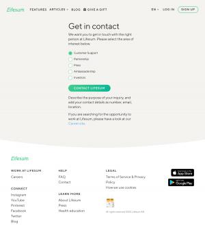 Lifesum – Contact page