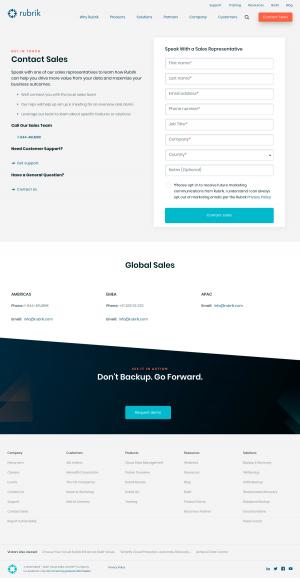 Rubrik – Contact sales page