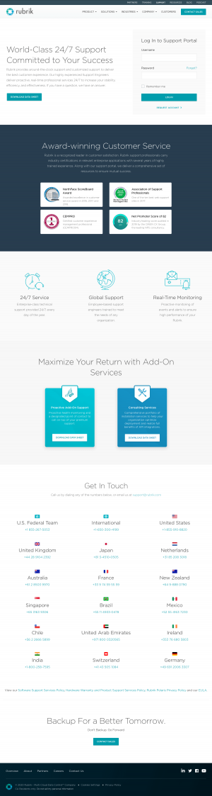 Rubrik – Support page