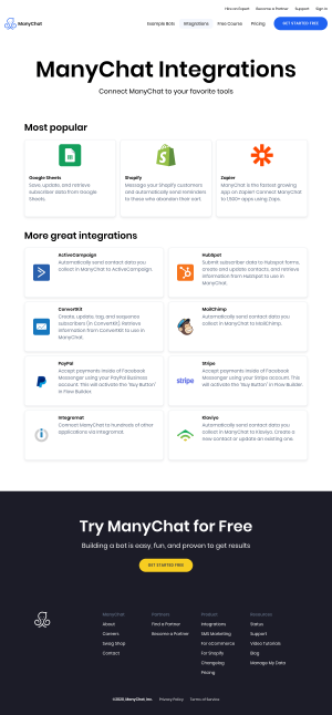 ManyChat – Integrations page