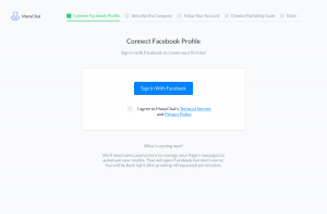 ManyChat – Sign up page