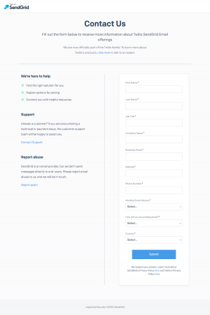 SendGrid – Contact page