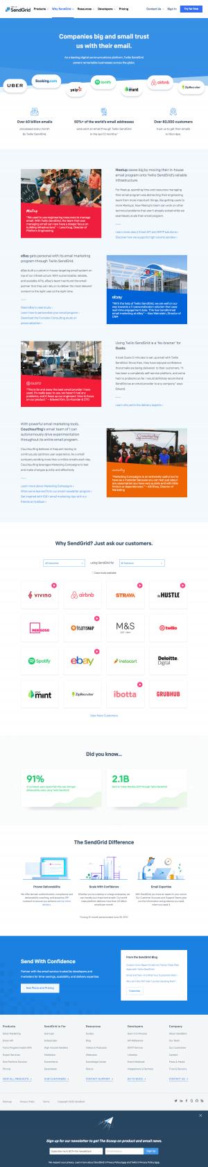 SendGrid – Customers page 1