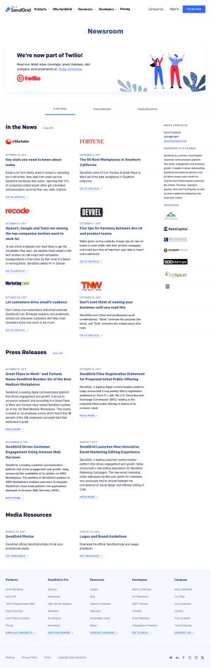 SendGrid – Newsroom page