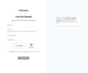 SendGrid – Sign up page