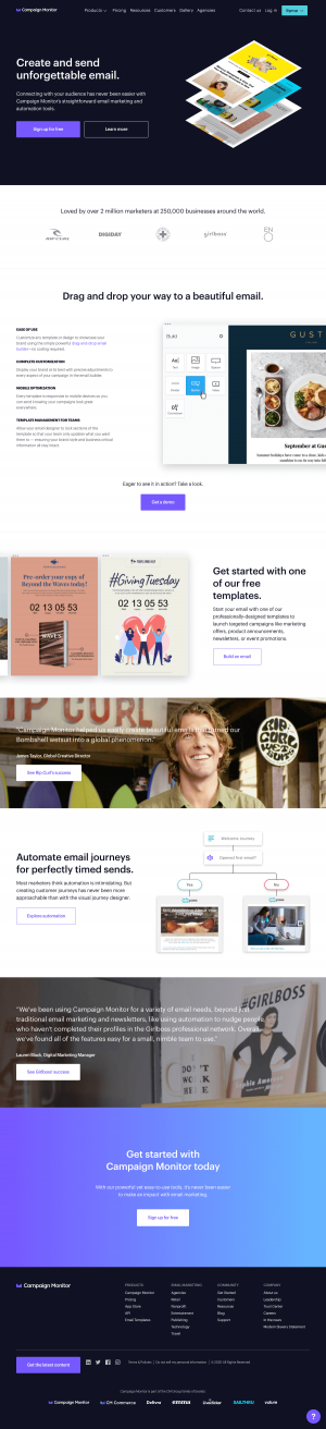 Campaign Monitor – Homepage